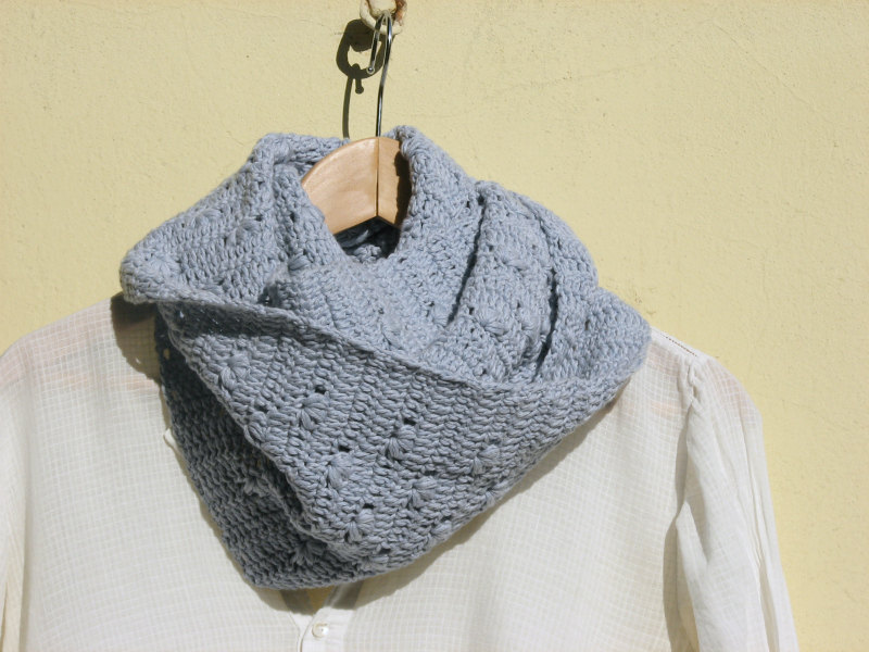 Crochet vegan cowl - Long - Cotton - dusty light blue