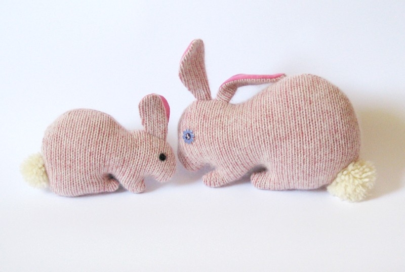Upcycled Bunny mom - Pink - Soft and cuddling plushies