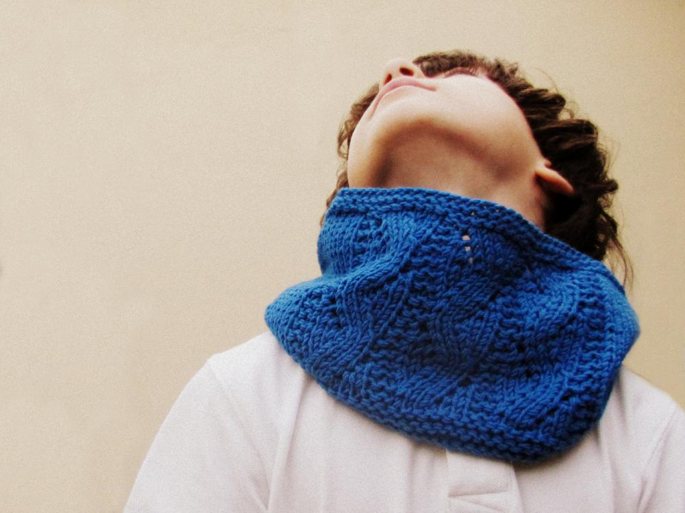 Knitted Cowl - Bright blue holiday gift for boy - winter accessories - Block color - kids and adults - unisex