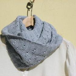 Crochet vegan cowl - Long - Cotton - dusty light blue